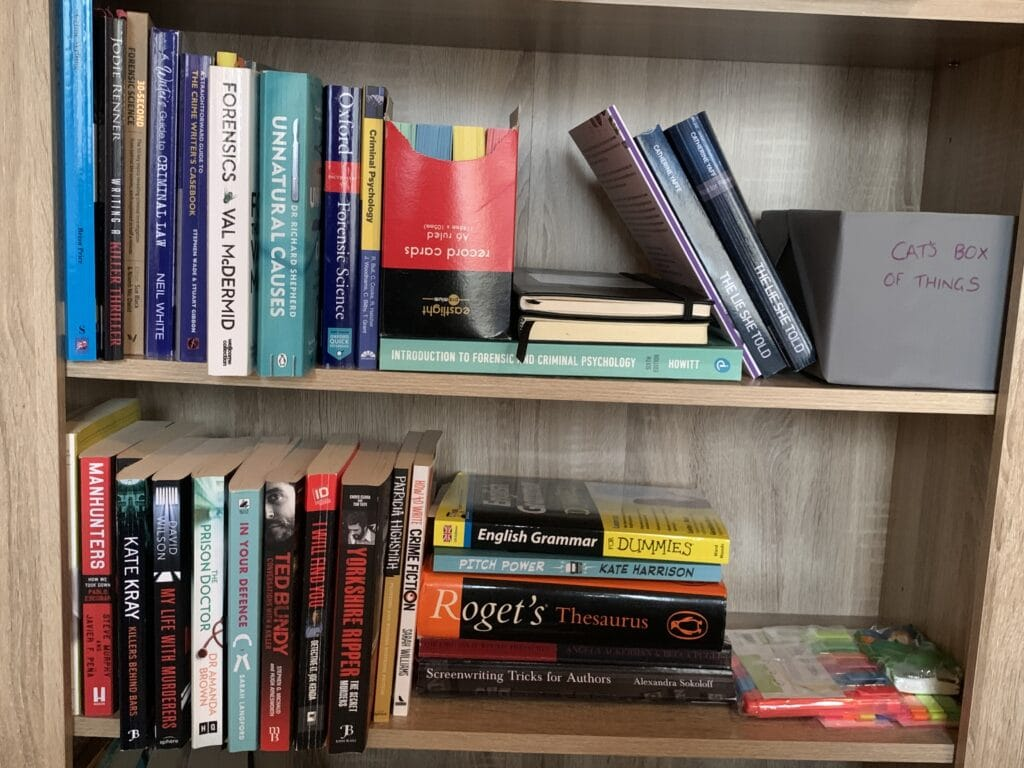 Bookcase displaying books